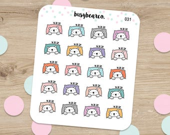 Sleeping BOBO, Sleeping Stickers, Night Time, Nap Time Stickers, Nap, Pillow, Bear Stickers, Planner Stickers, Erin Condren Stickers (031)