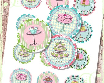 """Pink Door Bakery 2"""" Circles fOr Shabby ViNtAGe NeCkLAce JeWelRY AlTerED ArT dessert, cake, lime, aqua"""