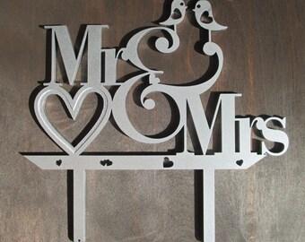 Wedding Cake Topper - Mr and Mrs Cake Topper - Silver Cake Topper - Lovebirds - Hearts Topper