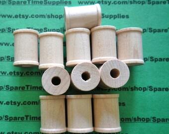 """Wood Spools  - 1"""" tall x 3/4"""" wide w/ 1/4"""" hole - 50 pcs - #SP7000WW50"""