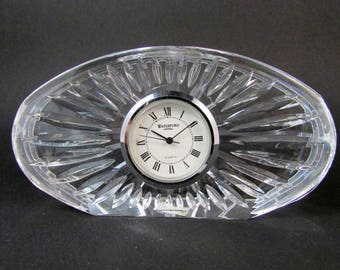 Vintage Waterford Crystal Oval Desk Clock Quartz Movement Crystal Desk Paperweight Silver Tone