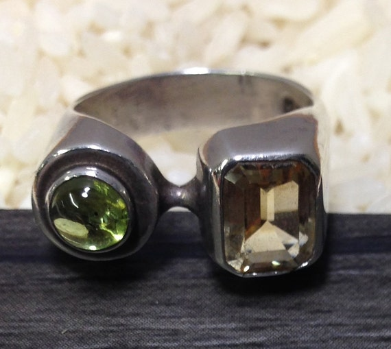 Sterling Silver Citrine Peridot Ring Handmade Handcrafted Yellow Citrine Green Peridot Jewelry Statement Ring