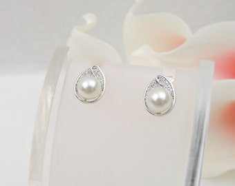 FREE US Shipping Cubic Zirconia Teardrop Pearl Bridal Earrings Teardrop Pearl CZ Earrings Cz Teardrop Studs Simulated Diamond Earrings