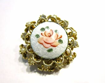 Vintage Guilloche Enameled Brooch Coro Vintage Pink Rose Flower Pin Button Size Small Pin Jewelry Gift Idea Under 10