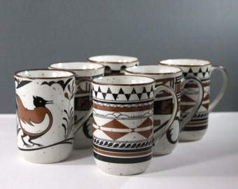 Tribal Art Cups. Set of Six Tribal Art Cups/Mugs
