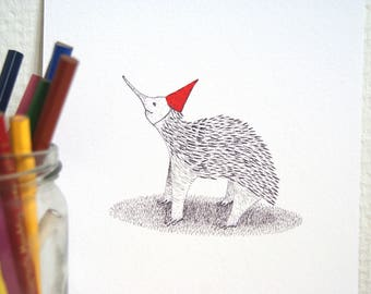 Giclee print party echidna // pen drawing // partyanimal with a red party hat // Handmade animal illustration // A5 // nursery print