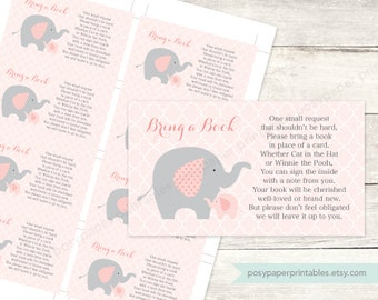 bring a book instead of a card insert printable baby girl shower DIY elephants pink grey cute baby digital shower games - INSTANT DOWNLOAD