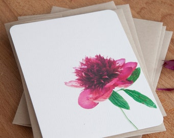 Vintage Peony Personalized Stationary Set - Stationery Note Card Set - Gift for Her