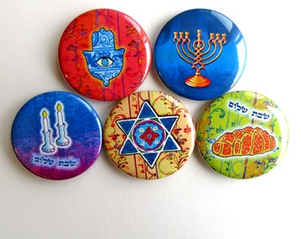 Jüdische Symbole, jüdische Kunst, jüdische Geschenke, Judaica Kunst, Judaica Geschenke, Kühlschrank-Magnete, Shabbat Shalom, Challah, Shabbat Leuchter, Chamsa