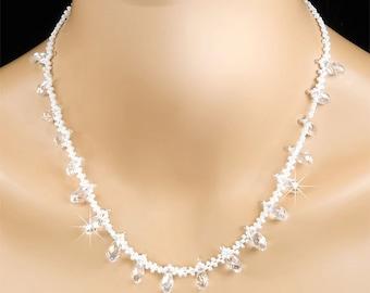Crystal Bridal Necklace, Swarovski Crystal Teardrops White Pearl Vintage Inspired Statement Bridal Necklace - Sophia (WN0062)