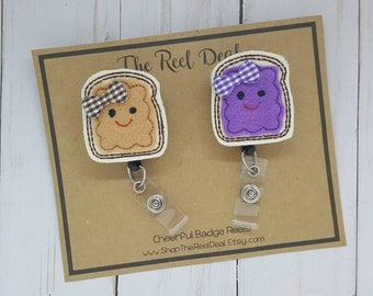 PB&J ID Badge Reel, Peanut Butter and Jelly Badge Reel, Bff Badge Reel Set, Nurse Badge Reel, RN Badge Reel, Id Badge Reel