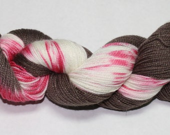 Ready to Ship - Peppermint Bark Hand Dyed Sock Yarn - Tough Sock
