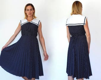 vintage navy sailor dress nautical dress womens sailor girl dress 70s 80s navy blue polka dot dress casual dress above knee pleated skirt M