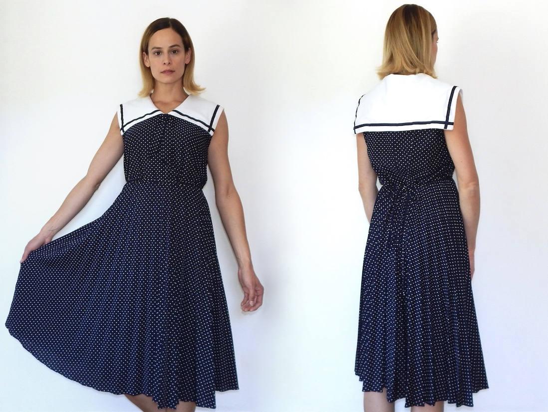 Vintage Navy Sailor Dress Nautical Dress Womens Sailor Girl