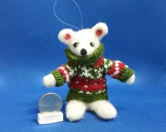 White Bear, Bear with Sweater, Felted Teddy Bear, Bear, Teddy, Teddy Bear Ornament, Teddy Bear Collectors, Ready to Ship