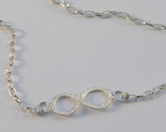 Infinity Symbol Necklace .925 Sterling Silver with Round Rolo Chain -Custom length