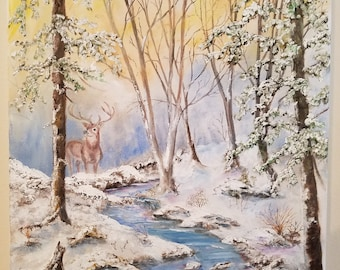 "14"" x 18"" Oil on Canvas, Snow Paintings Deer Paintings, winter Paintings, oil on canvas paintings, landscape paintings, impressionist"