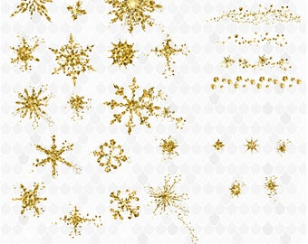 Gold Clipart, Gold Snowflake, Gold Christmas, Snowflakes, Gold Confetti, Gold Brushes, Decal for Shops, Gold Sparkle, Holiday Clipart
