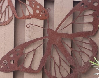 Gifts for Gardeners - Outdoor Metal Wall Art - Natural Steel - Wall Art - Monarch Butterfly Metal Garden Wall Decor (Small)
