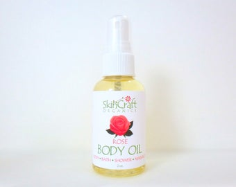Natural Rose Body Oil - Rose Moisturizer - Rose Bath Oil - Natural Fragrance Shower Oil - Rose Valentine's Day Gift for Her - 2 oz
