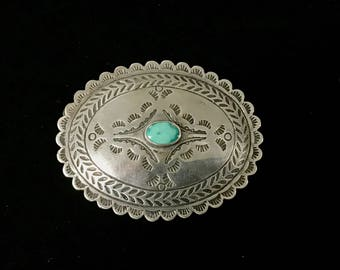 Sterling Silver Turquoise Brooch