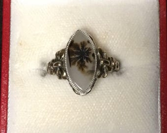 Gorgeous Sterling Silver and 10k Gold Agate Ring by Clark & Coombs