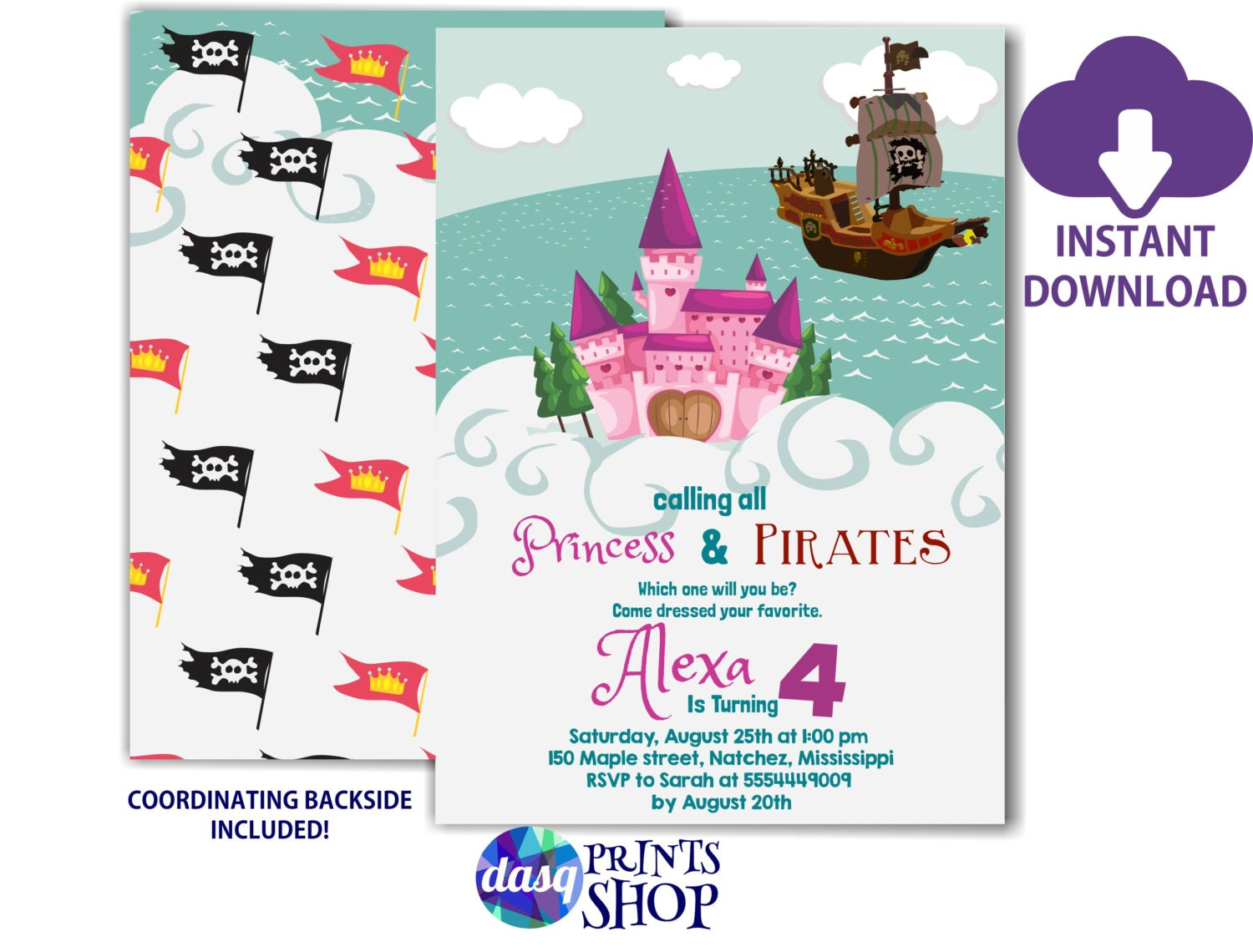 INSTANT DOWNLOAD Princess Pirate Party Princess Invitations