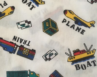 Colorful Trains Boats Trucks and Planes Fabric