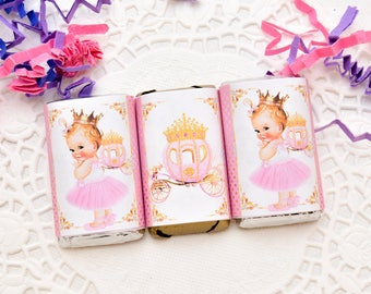 54 Princess Labels for Hershey Miniatures, Princess Birthday Labels, Princess Party Favor Stickers