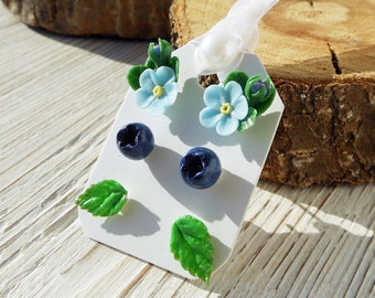 Gift set of stud earrings Forget-me-not stud earrings cold porcelain Berry earrings Leaves polymer clay Gift bridesmaid Cute post earrings