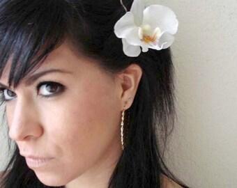 white orchid flower hair clip - bohemian accessory - boho chic flower clip - floral accessory - bridal hair clip - beach hair clip - BIANCA