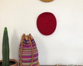 Vintage Woven Bucket Bag // 80s Colorful Woven Bucket Bag // Leather and Woven Bucket Bag