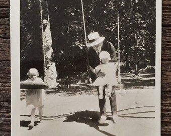 Original Antique Photograph | Swing Time in the Park