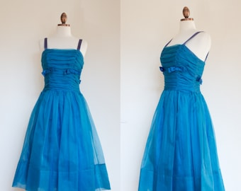vintage 1950s Lord & Taylor azure party dress / 50s blue organza semi formal dress with bows / M