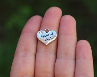 5 pieces Stamped Heart, Maid of Honor Heart Charm, Heart Charm with Rhinestone, Maid of Honor Charm , Maid of Honor gift diy B18398H