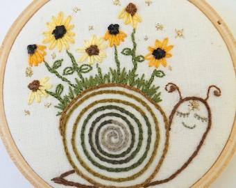 Sunflower Snail Spirit | Hoop Art | Embroidery