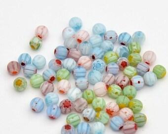 50 beads millefiori glass round multicolor S88P 5 mm diameter
