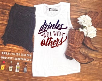 Drinks Well With Others Women's Festival Tank XS-4X - White, Black, & Mint // Country Concert Tank // Drinking Tank