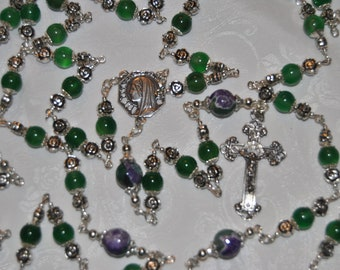 Green Agate Silver Rose Rosary