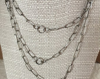 """925 silver chain necklace layering necklace oxidized patina OOAK versatile chain 48"""" long opera length"""