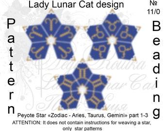 Zodiac peyote patterns, Aries peyote, Taurus peyote, Gemini peyote, Stars Peyote pattern, Peyote stitch, Beading patterns