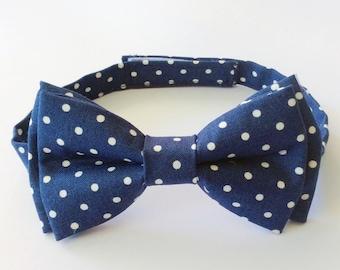 Bow Tie - Navy & Ivory Polka Dots