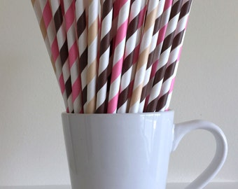 Pink, Brown, and Cream Striped Paper Straws Ice Cream Sundae Bar Party Supplies Party Decor Bar Cart Cake Pop Sticks Graduation