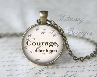 Chronicles of Narnia, 'Courage, Dear Heart', C. S. Lewis, Flying Birds Necklace or Keyring, Keychain.