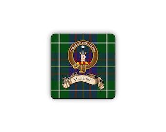 MacIntyre Scottish Clan Tartan Motto Crest Rubber Coaster