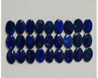 6x4mm. Australian Opal Doublet Cabochon Oval Shape Vintage Set of 27 Pieces - MADE IN AUSTRALIA