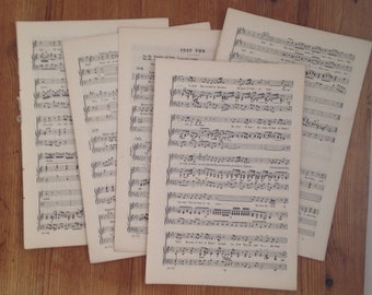Music sheet vintage paper pack // small size paper sheets ( 8 ) UK seller