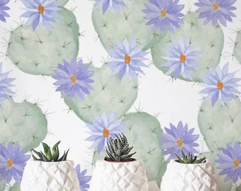 Watercolor Blooming Cactus Wallpaper, Removable Wallpaper, Self-adhesive Wallpaper, Floral Wall Décor, Jungle Wallcovering - JW030