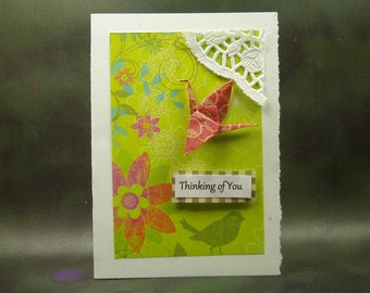 Thinking Of You Card/ Origami Crane Card/ Hand Made Greeting Card/ Art Card