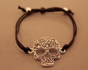 Skull Bracelet: Candy Skull Adjustable Bracelet, Sugar Skull, Day of the Dead, Skull Bracelet, Colour Choice, Friendship Bracelet